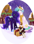 christmas hat pipsqueak ponyville present princess_celestia princess_luna rizcifra scarf snow sweater