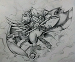 armor axe darius discommunicator gilda grayscale league_of_legends weapon