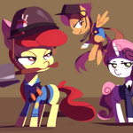 apple_bloom cap cigarette crossover cutie_mark_crusaders dog_tag headphones karzahnii scootaloo scout shovel soldier spy sweetie_belle team_fortress_2 weapon