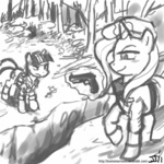 crossover grayscale gun johnjoseco magic metal_gear_solid naked_snake pistol revolver_ocelot sketch the_great_and_powerful_trixie twilight_sparkle weapon