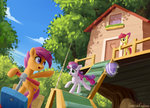 apple_bloom clubhouse cutie_mark_crusaders emeraldgalaxy highres magic scootaloo scooter sweetie_belle tree
