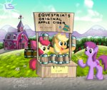 absurdres apple_bloom applejack barn berry_punch bits capitalism cider farm highres lars99 mug