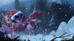 fluttershy hat hierozaki highres pinkie_pie princess_twilight scarf snow trees twilight_sparkle