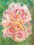 absurdres bartholomaei butterfly fluttershy highres traditional_art