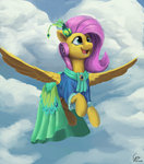 cloud cyonixcymatro dress fluttershy flying highres