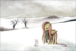 border bunny crappyunicorn fluttershy scarf snow winter