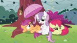 adcoon apple_bloom cutie_mark_crusaders highres rain scootaloo squirrel sweetie_belle umbrella wet_hair
