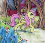 angel cockatrice dragon fluttershy night-owl8 traditional_art