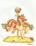 applejack bow carousel flowers highres rainbow_power traditional_art urahana