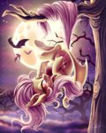 apples bat flutterbat fluttershy jadedjynx moon nighttime