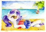 ball beach book glasses moonlight-ki rarity sea sunbathing sunglasses sweetie_belle swimming traditional_art