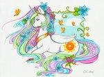 butterfly flowers highres longinius-ii princess_celestia traditional_art