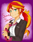 aka-ryuga equestria_girls humanized ponytail suit sunset_shimmer tie
