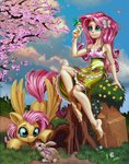 absurdres bird equestria_girls flowers fluttershy harwick highres humanized rabbit species_confusion