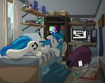 bed computer headphones highres octavia_melody pizza plushie sleeping soda template93 toy tv vinyl_scratch