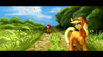apple_bloom applejack birds highres lorenz3 scenery trees