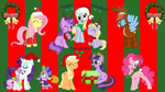amethyst_star applejack christmas costume derpy_hooves dinky_hooves fluttershy hat highres main_six neodarkwing pinkie_pie present rainbow_dash rarity santa_hat scarf spike sweetie_belle twilight_sparkle