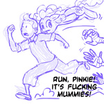crossover lineart megasweet mummy pinkie_pie sketch the_adventures_of_tintin tintin