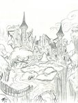 absurdres brekrofmadnessrd castle castle_of_the_two_sisters highres scenery sketch traditional_art