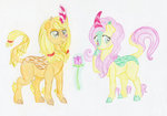 applejack flowers flutterjack fluttershy kirin maximanxd shipping species_swap traditional_art