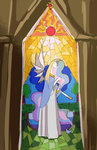 bluecrow dress highres princess_celestia stained_glass sun