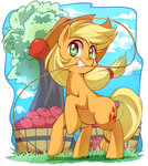 applejack apples caibaoreturn highres lasso rope tree