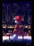 bag bench city clothes coat coco_pommel hat highres luciferamon nighttime scenery snow