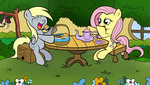 derpy_hooves fluttershy highres muffin smittyg tea_party