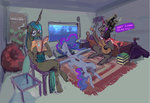 absurdres alumx bed book chair glasses guitar headphones highres king_sombra princess_luna queen_chrysalis