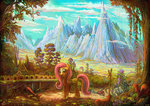 absurdres bag flowers fluttershy highres jowybean mountain scenery squirrel tree