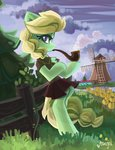 absurdres clothes fence flowers highres original_character pipe saxopi scenery smoking tree windmill