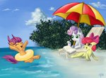 absurdres apple_bloom beach book cutie_mark_crusaders daffydream highres inner_tube scootaloo sweetie_belle umbrella