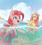 fish fluttershy highres mirroredsea pinkie_pie sea swimming water