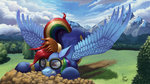 crash_landing goggles highres rainbow_dash uniform wonderbolts zevironmoniroth