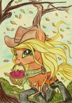 applejack apples autumn highres pedrohander traditional_art trees