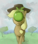 applejack apples luna-sedata parody rene_magritte son_of_man