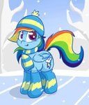 hat lyricbrony rainbow_dash scarf winter