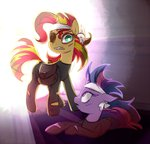 eyepatch future_twilight jumblehorse sunset_shimmer twilight_sparkle