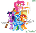 applejack crossover pinkie_pie rainbow_dash teenage_mutant_ninja_turtles transparent twilight_sparkle yoshiman