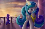 absurdres balcony canterlot grennadder highres magic princess_celestia twilight_sparkle