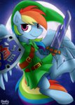 absurdres bravelyart costume highres link rainbow_dash shield sword the_legend_of_zelda weapon
