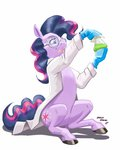 baroncoon disguise goggles highres labcoat pinkie_pie science traditional_art twilight_sparkle