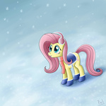boots earmuffs fluttershy polkin saddle snow snowing winter