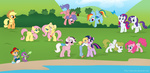 applejack butterfly chano-kun danny firefly fluttershy g1 generation_leap glory highres main_six megan molly pinkie_pie posey rainbow_dash rarity spike surprise twilight twilight_sparkle vector