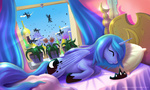 alexmakovsky bed canterlot changeling flowers highres princess_luna sleeping