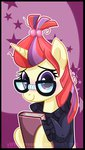 blushing book glasses highres moondancer xwhitedreamsx