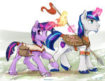 alternate_universe magic shining_armor silfoe spear twilight_sparkle weapon