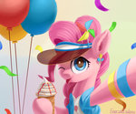 balloon clothes emeraldgalaxy hat highres ice_cream pinkie_pie