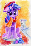 beret coffee hipster maytee scarf twilight_sparkle