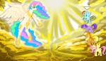 applejack final_fantasy fluttershy heaven princess_celestia rainbow_dash sky sun tristikov twilight_sparkle